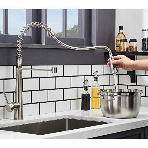 Hotis Modern Spring 360 degree Single Lever Stainless Pull Prep Faucet,