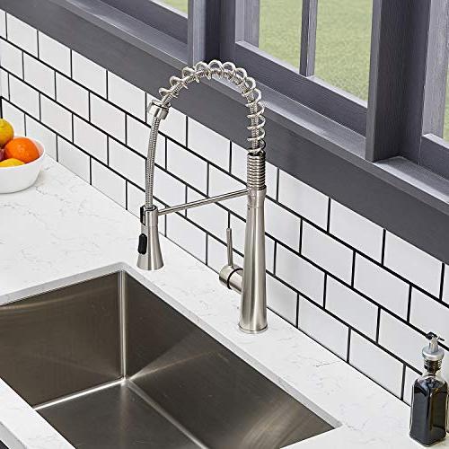 Hotis degree Single Handle Single Stainless Prep Kitchen Faucet, Brushed
