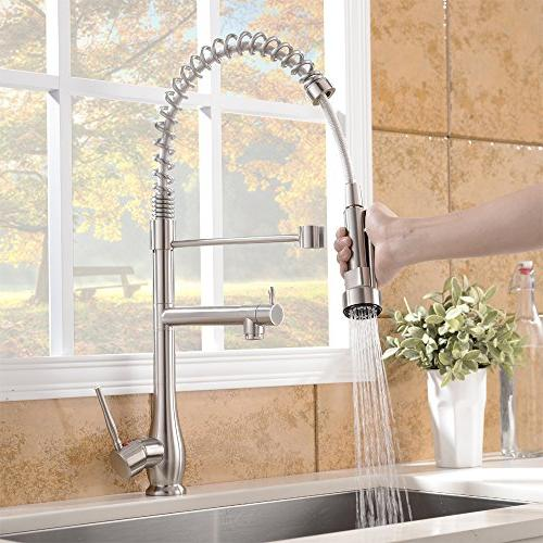 VAPSINT High Arc Handle Nickel Kitchen Faucet, Sink Faucets