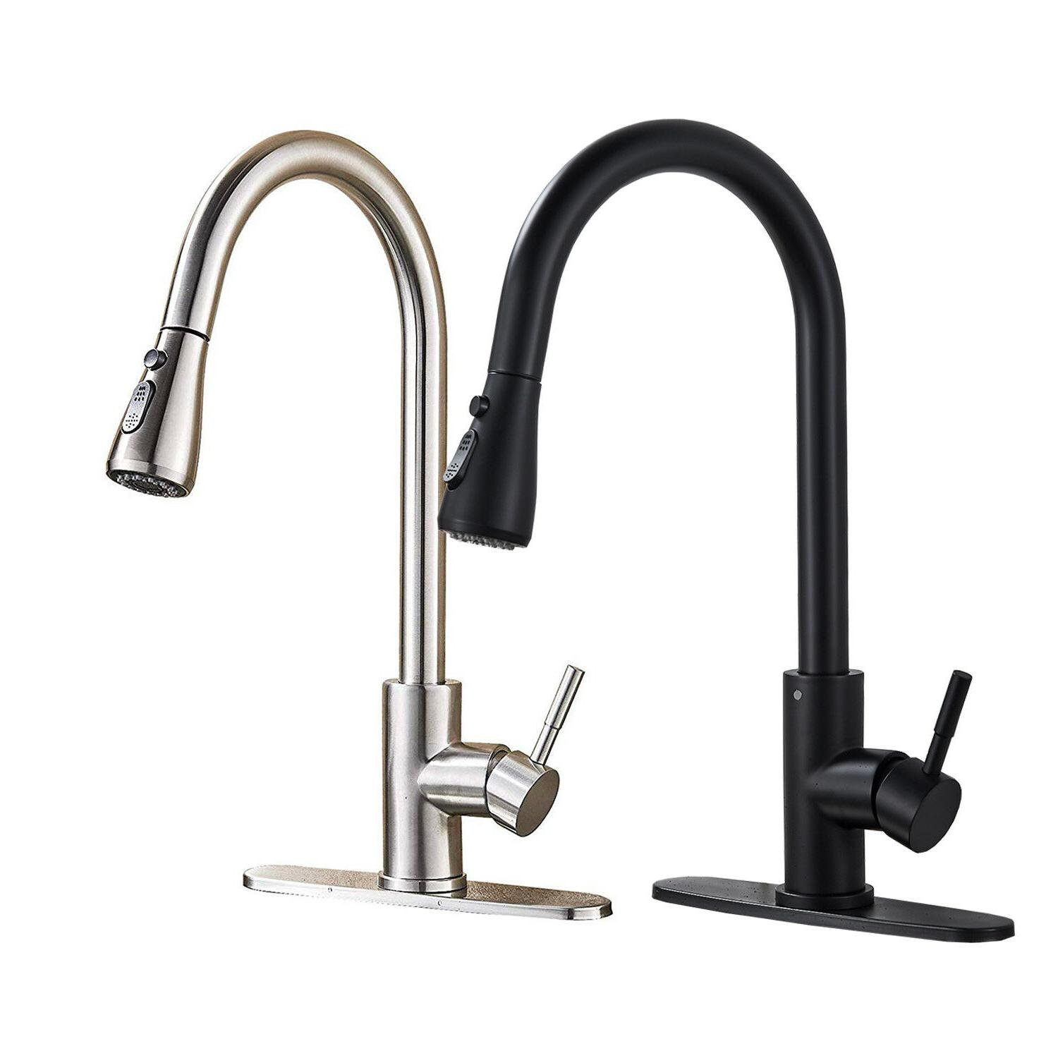Oil Rubbed Bronze Kitchen Faucet LED Swivel Spout Single Han