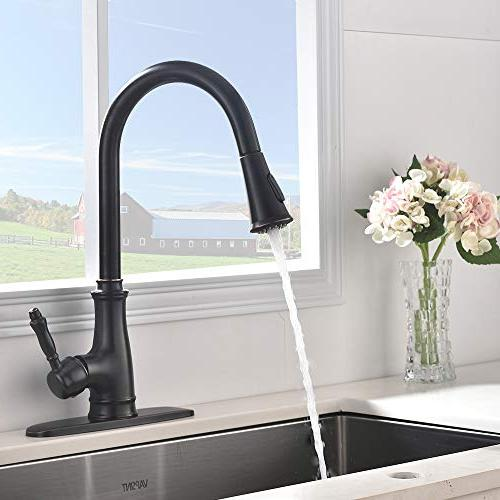 VAPSINT Oil Pull-Down Out Kitchen Faucet, Solid Brass Single Kitchen Faucets with Deck