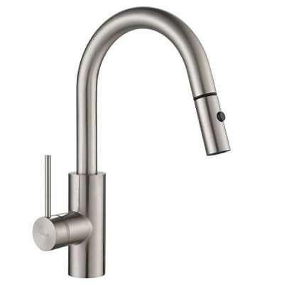 Kraus Oletto Single Handle Stainless Steel Kitchen Faucet w/