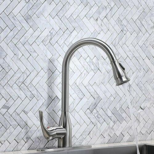 Pull Down Kitchen Sink Faucet Tap Brass Plate