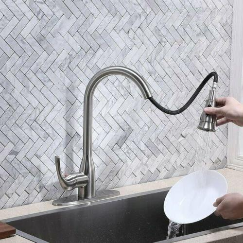Pull Kitchen Sink Faucet Tap Brass Plate