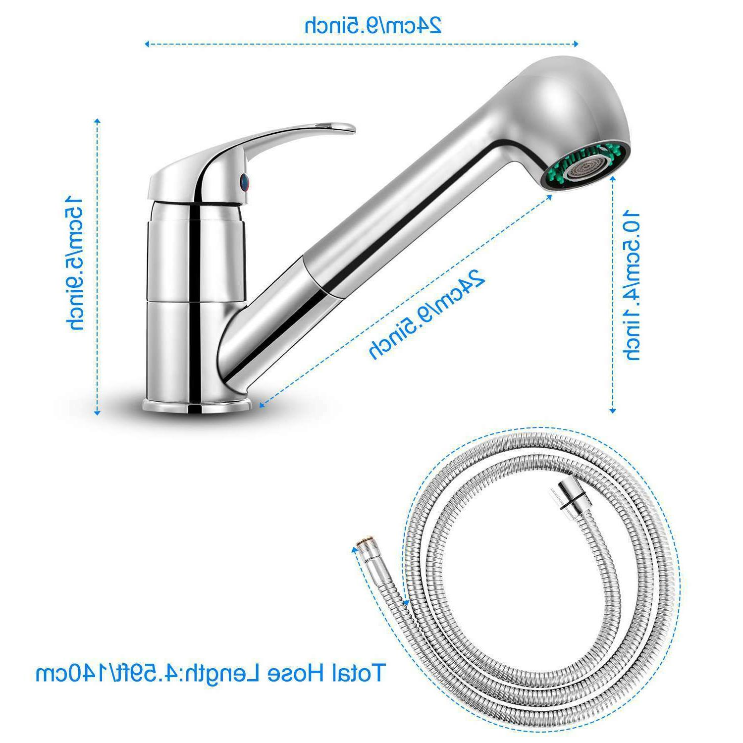 Pull-Out Spray Kitchen Swivel Spout Handle Chrome