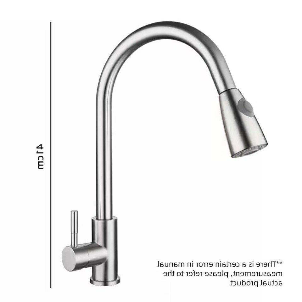 Single Handle High Brushed Nickel Kitchen Sink Faucet Pull Down Sprayer