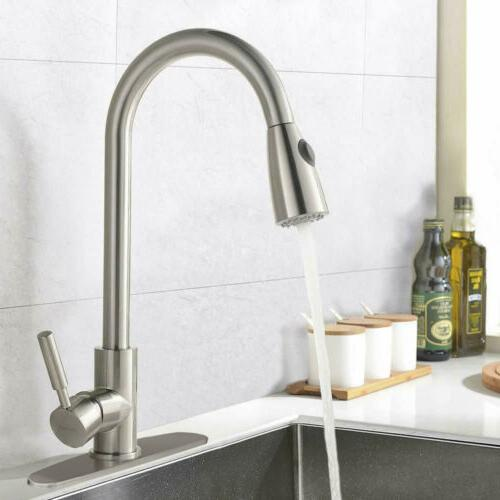 Brushed Kitchen Sink Faucet Pull Out Sprayer Swivel Spout Mi