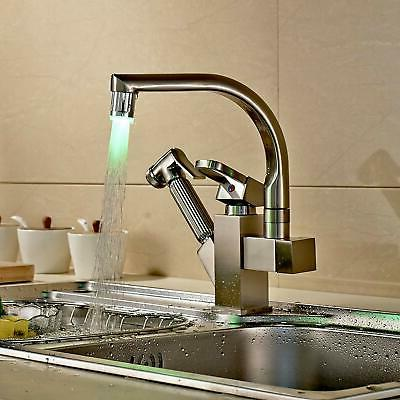 Brushed Nickel Led Swivel Spout Kitchen Sink Faucet