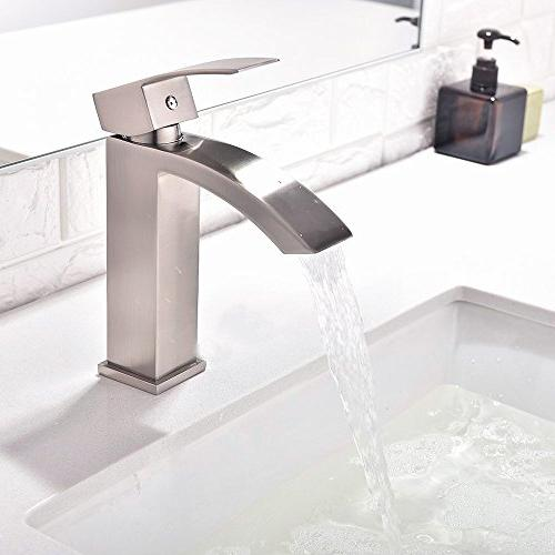 Friho Single Handle Waterfall Bathroom Sink with Large Rectangular Spout, Brushed