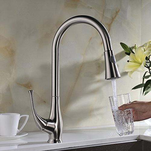 Avola Solid Lever High Arc Down Kitchen Stainless Steel Single Pull Sprayer Mixer Faucet