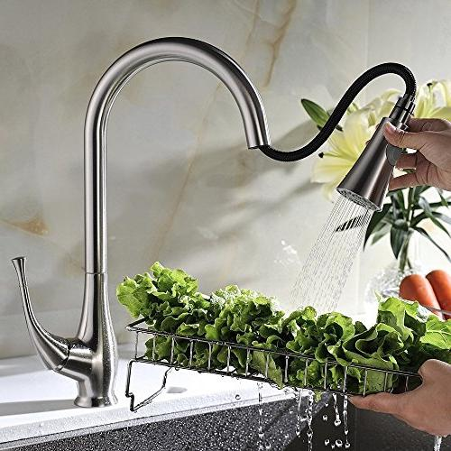 Avola Lever High Arc Down Kitchen Faucet, Brushed Pull Out Mixer Faucet