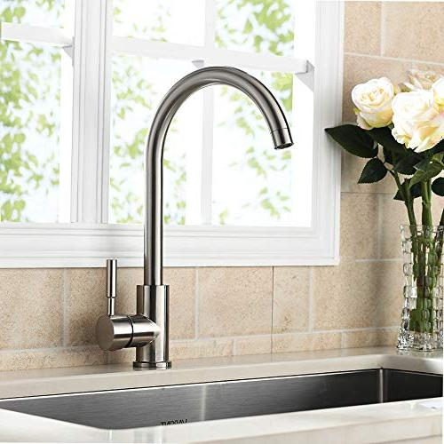 VAPSINT Degree Good Valued Cold Single Handle Kitchen Sink Faucet, Installation Brushed Nickel Kitchen Faucets