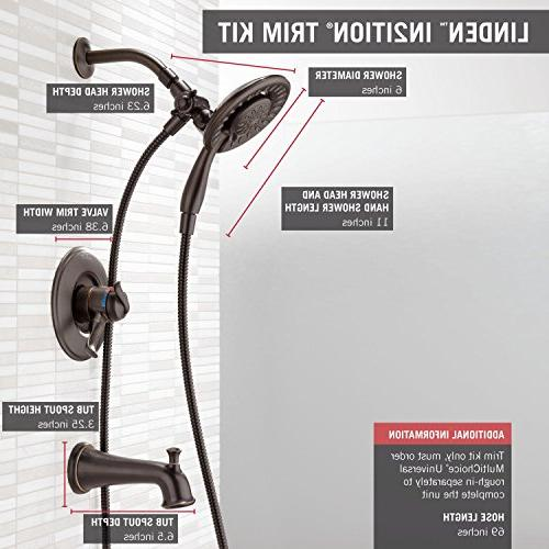 Delta Faucet Linden 17 Series Dual-Function and Shower Trim with 2-Spray 2-in-1 Hose, Venetian Bronze T17494-RB-I