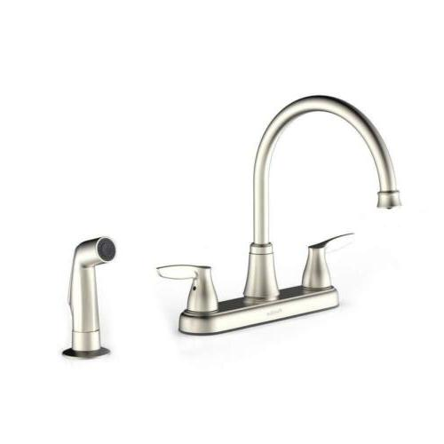 Purelux Two Handle Kitchen Faucet with Sprayer, Brushed Nick