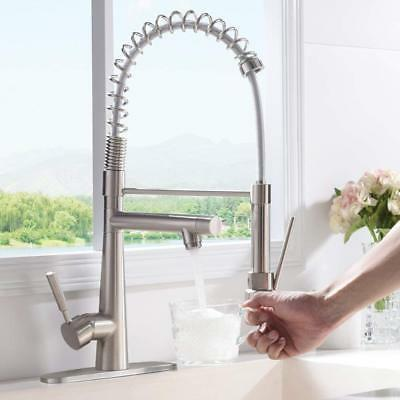 VAPSINT Modern Arch Commercial Lead-Free Stainless Steel Kitchen Faucet