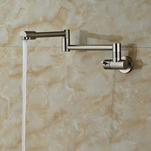 Rozin Mounted Single Cold Kitchen Faucet Folding Swivel Spout Tap Brushed