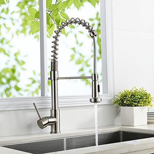 VAPSINT Well Steel Mixer Pre Down Kitchen Faucet, Pull Kitchen