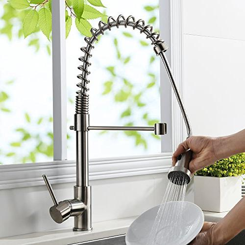 VAPSINT Steel Brushed Mixer Down Sprayer Single Kitchen Faucet, Pull Kitchen Sink