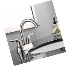 Modern 2 Handle Brushed Nickel Bathroom Sink Faucet, Vessel