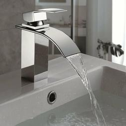 New Chrome Bathroom Basin Faucet Waterfall Spout Sink Mixer
