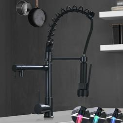 Oil Rubbed Bronze LED Kitchen Faucet Swivel Single Handle Pu