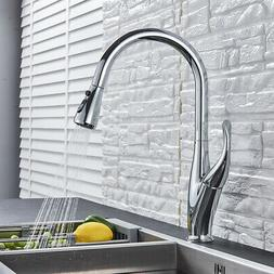 Oil Rubbed Bronze LED Kitchen Faucet Pull Down Spout Single
