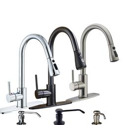 Pull Down Sprayer Kitchen Faucet Swivel Single Hole Sink Mix
