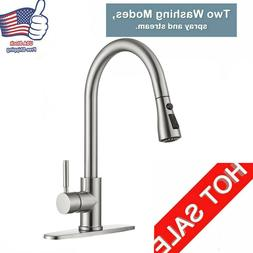 Pull Down Sprayer Kitchen Sink Faucet Bar 360° Swivel Spout