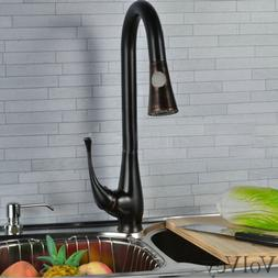 "18"" Pull Out Kitchen Sink Faucets Oil Rubbed Bronze One Hole"