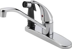 Single Handle Centerset Kitchen Faucet with Spray - Finish: