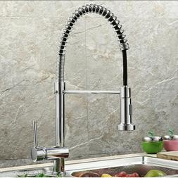Single Handle Kitchen Faucet Swivel Spout Pull Down Sprayer