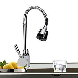 Single Handle Sprayer Kitchen Sink Faucet 360 Rotatable Pull