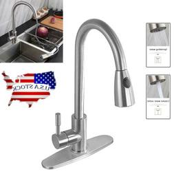 Single Handle Kitchen Sink Faucet Pull Out Sprayer Brushed N