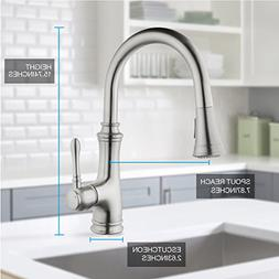 NEW Single Handle Kitchen Faucet with Pull down Sprayer, Bru