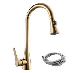 Single Handle Pull Down Kitchen Faucet High Arc Swivel Spout