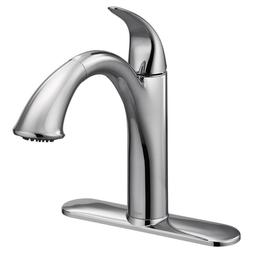 Single Handle Pull Out Spray Kitchen Faucet Chrome High Arc