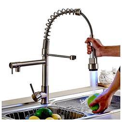 Rozin Single Hole Spring Kitchen Sink Faucet LED Light Spray