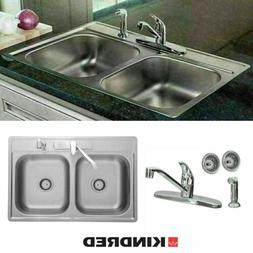 """KINDRED Stainless Double Bowl 7"""" Kitchen Sink with Faucet,St"""