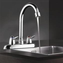 Swivel Bathroom Kitchen Faucet Chrome Two Handle Hot Cold Si