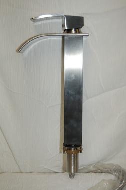 Tall Waterfall Single Handle Brushed Nickel Bathroom Sink Fa
