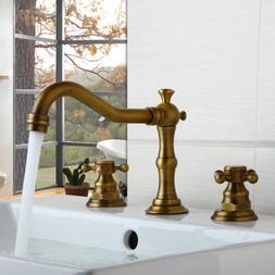 US  Bathtub Widespread Faucet Antique Brass Three Holes Doub