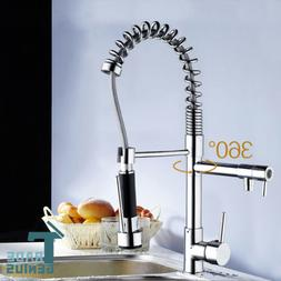 US Stock Single Handle Chrome Commercial Pull Down Kitchen S