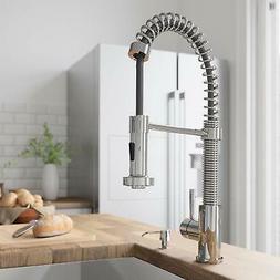 VIGO Chrome Single Handle Pull Down Sprayer Kitchen Sink Fau