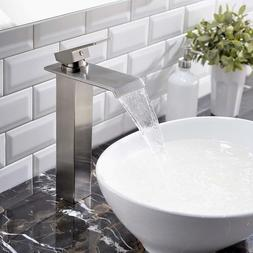 VAPSINT Waterfall Brushed Nickel Vessel Sink Bathroom Faucet