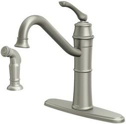 Moen Wetherly Spot Resist Stainless 1-Handle Deck Mount High